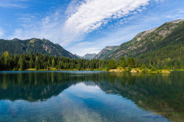 Summer hike in Cascade mountains stock photo