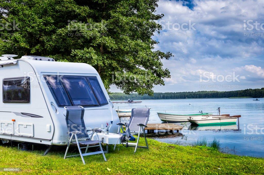 Summer holiday at the lake, Masuria, Poland stock photo