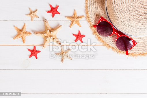 699960484istockphoto summer holiday beach background with accessories on wooden table, top view with copy space. vacation concept 1159560796