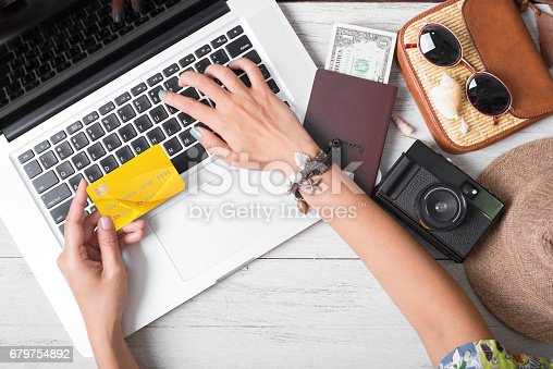 istock Summer holiday, hand people holding credit card online booking traveling on Laptop among white wooden background. 679754892