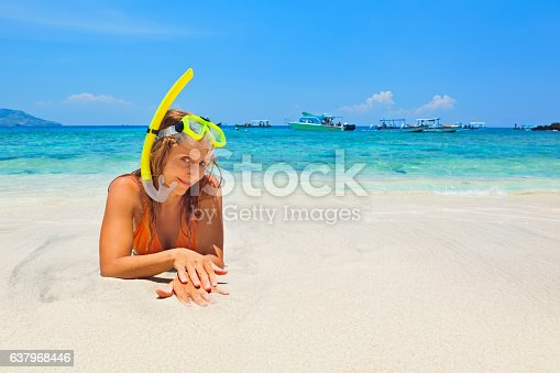 583830686 istock photo Summer holiday. Happy woman in ocean surf on white beach 637968446