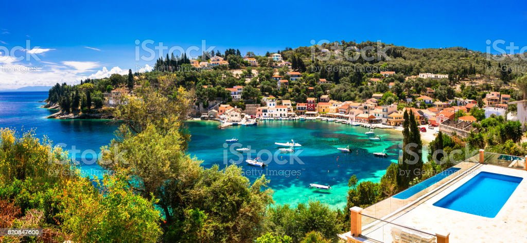 summer holiday in Greece - picturesque Loggos village in Paxos island stock photo