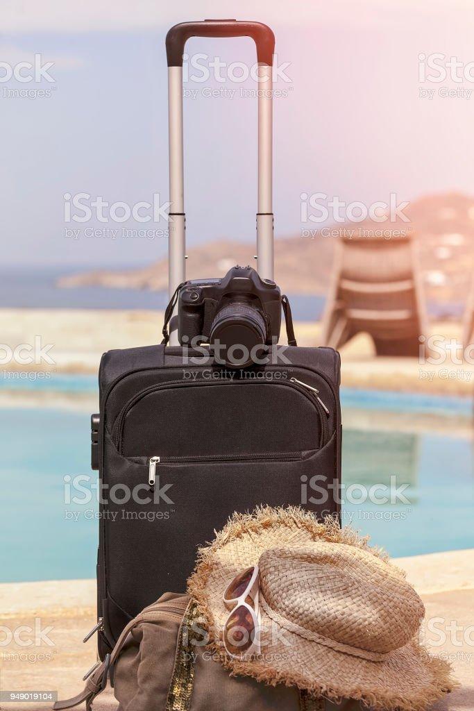 Summer  Holiday Luggage stock photo