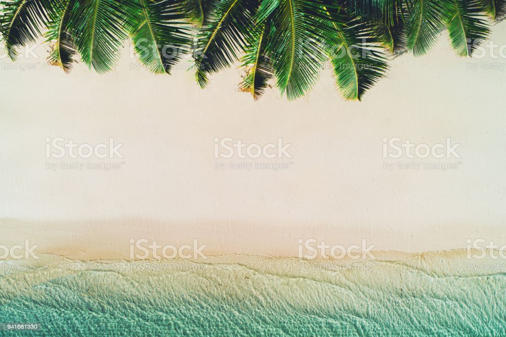 Summer holiday on tropical island. Palm trees on the beach and sea waves. stock photo