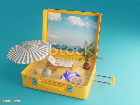 Travel Suitcase includes a beach, can be used holiday, vacation concepts. ( 3d render )