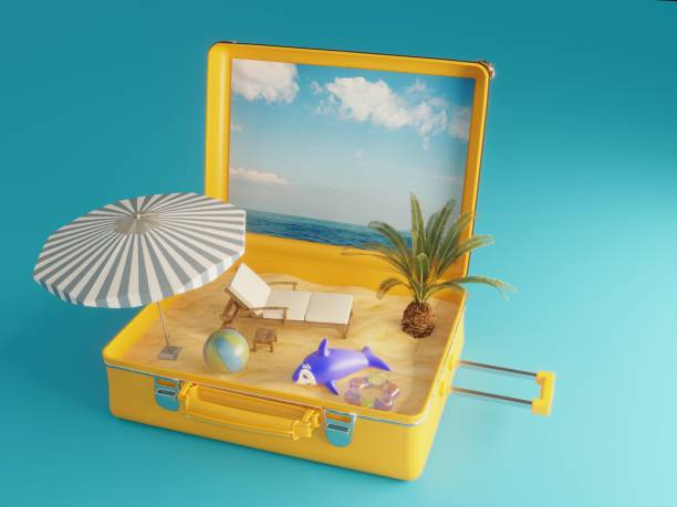 Summer Holiday Suitcase stock photo