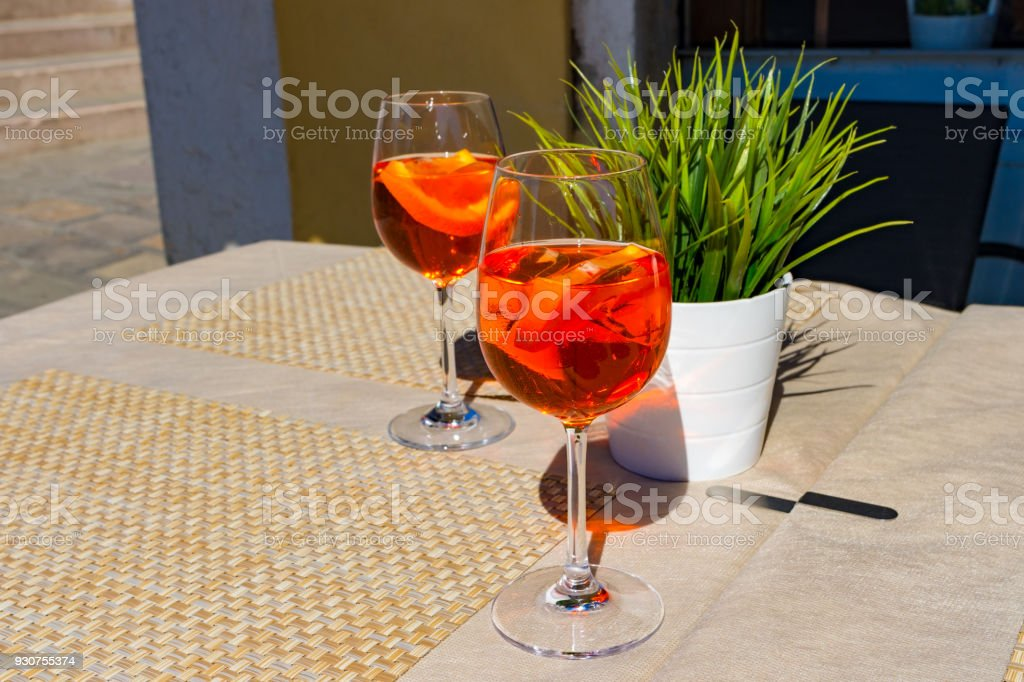 Summer hot: two glasses of apperol spritz cocktail stock photo