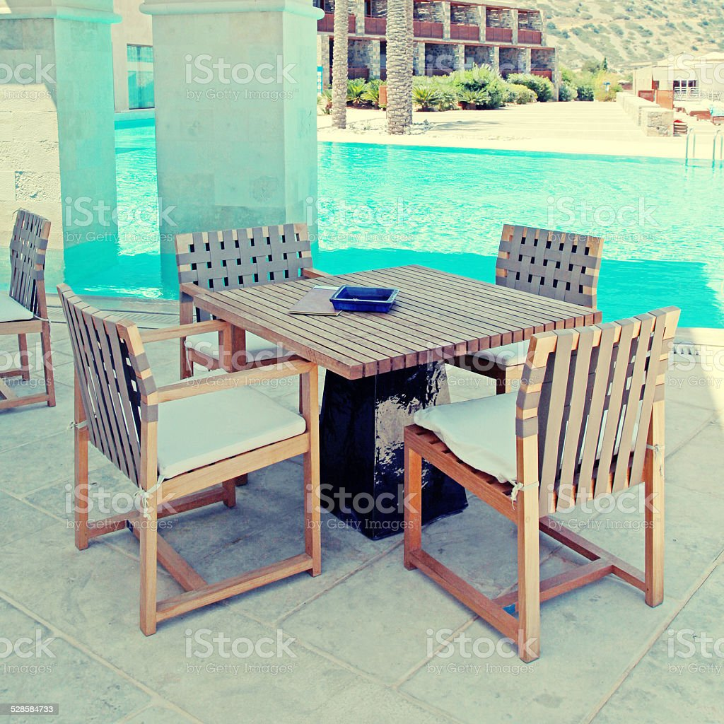 Summer hotel terrace with pool and outdoor furnituregreece stock image