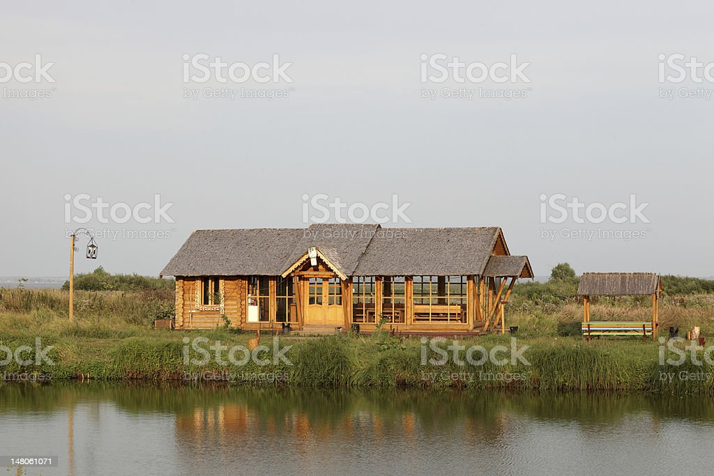 Summer house on the lakeside stock photo