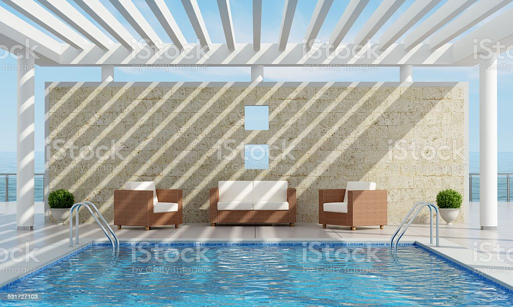 Summer house with pool stock photo