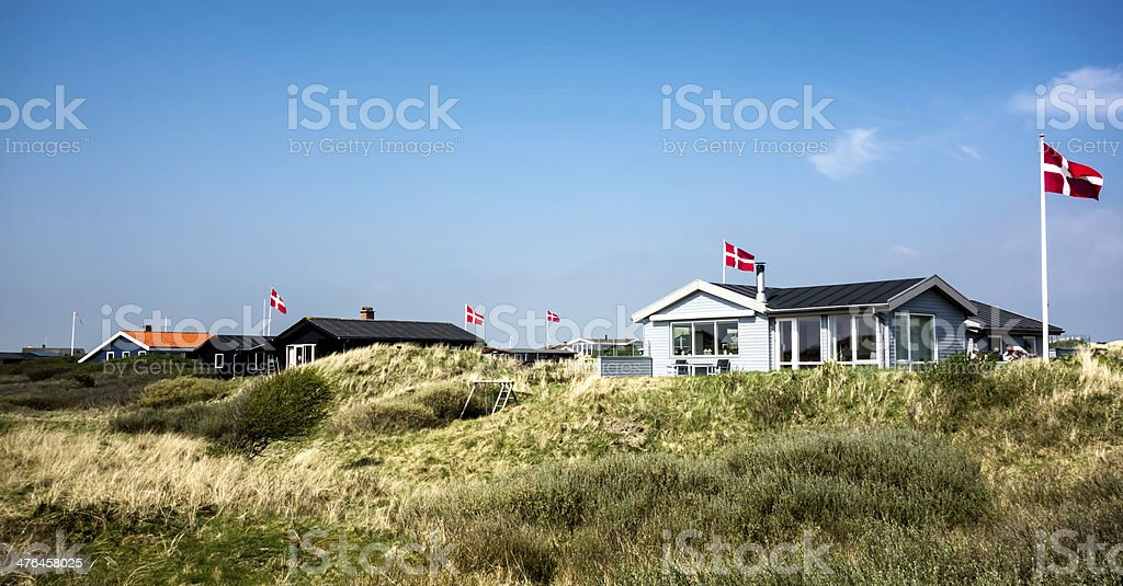 Summer houses at the island Fano in Danish wadden sea stock photo