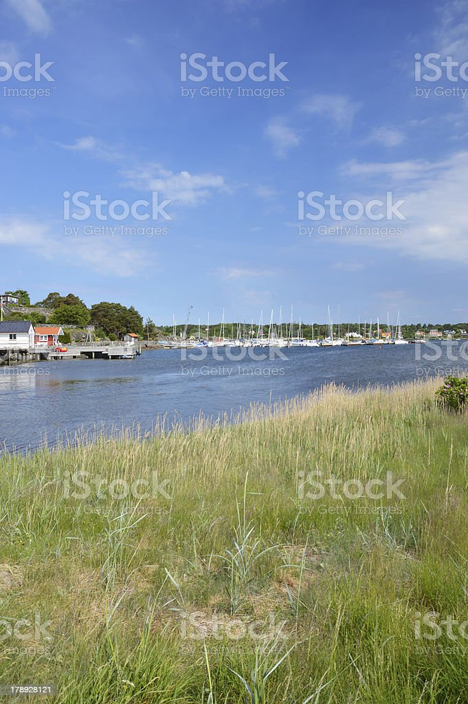 Summer houses with small marina stock photo
