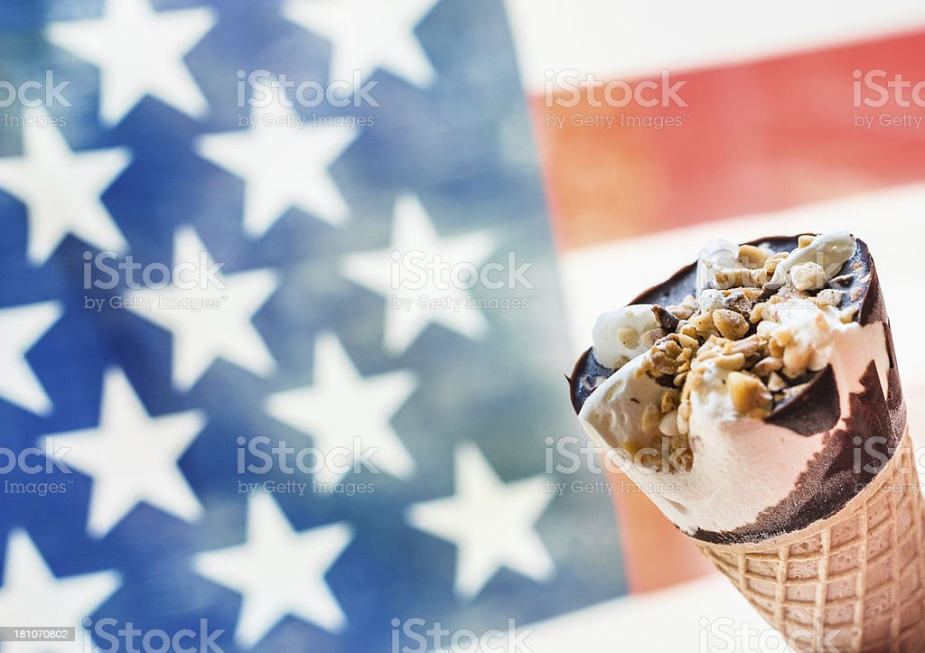 Summer icecream against Us flag stock photo