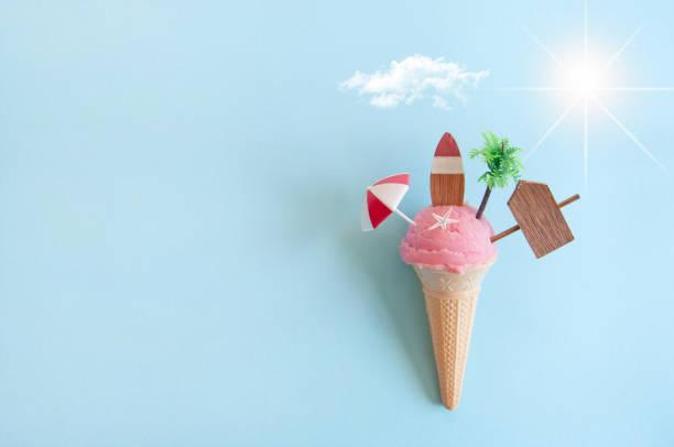 Summer icecream cone background stock photo