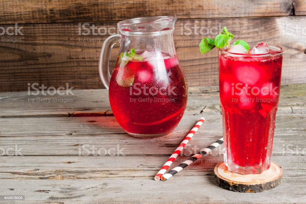 Summer iced drink - tea or juice stock photo