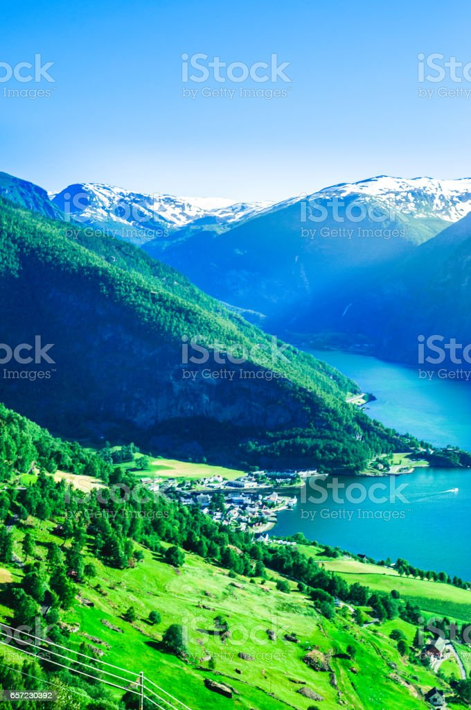 Summer in aurlandsfjord in norway with houses stock photo