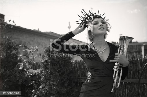 Party, beauty, cute, vintage, art, showgirl, portrait, close-up, fun, backstage, young woman, bizarre, funky, crown, make-up, summer, outdoors,