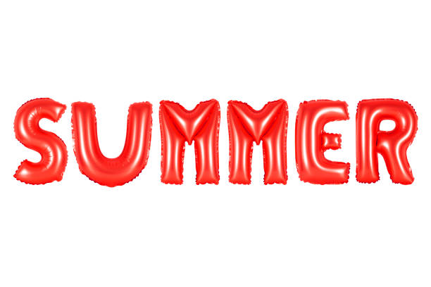 summer in english alphabet from red balloons stock photo