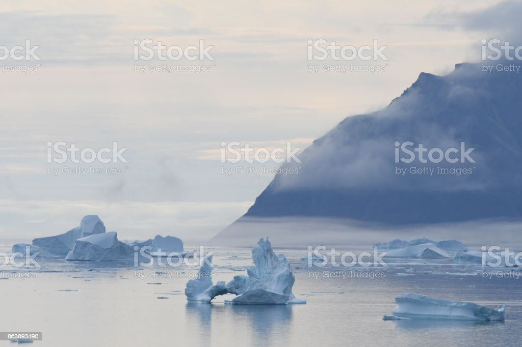 Summer in Qaanaaq in Northern Greenland stock photo