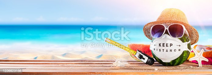 Watermelon Wearing Protective Mask - Summer In Social Distancing - Creative Minimal Concept