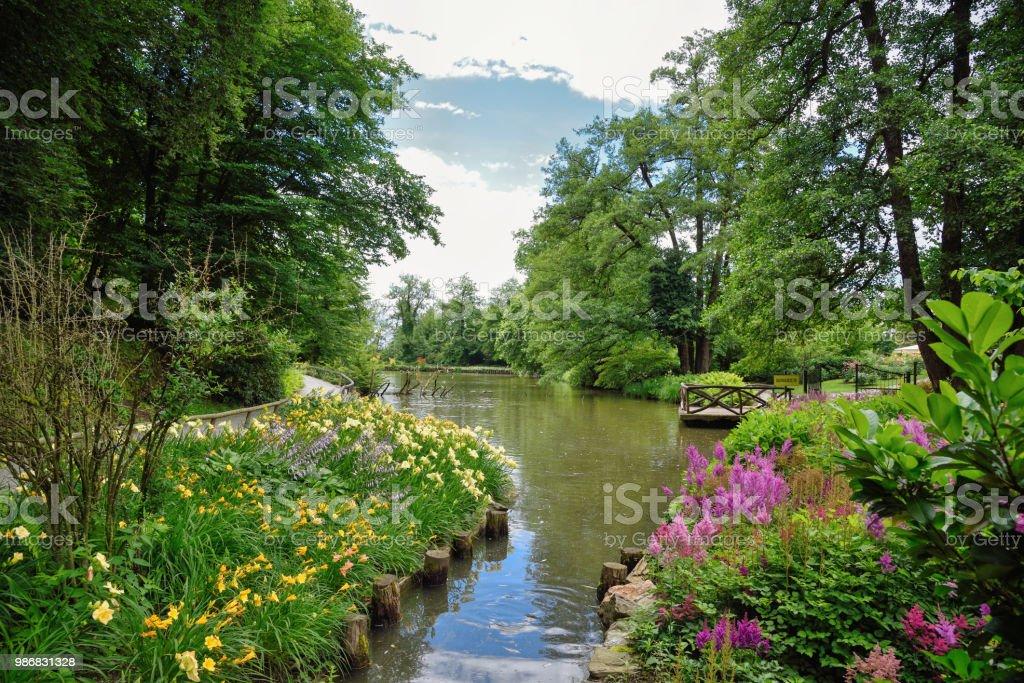 Summer in the arboretum Volcji potok near Kamnik, Slovenia stock photo