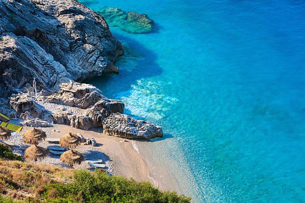 summer ionian sea coast, albania. - 이오니아 해 뉴스 사진 이미지