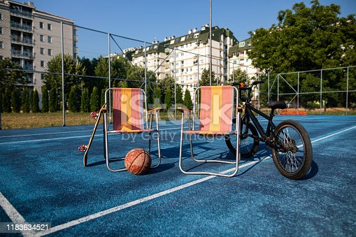 Relaxation equipment on a sports court