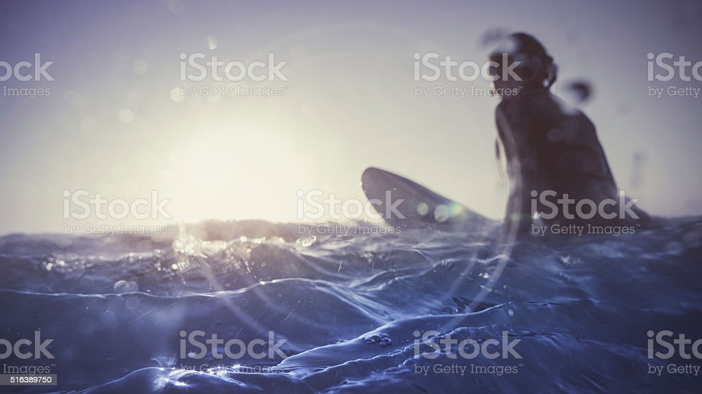 Summer is here: surfer girls in action stock photo