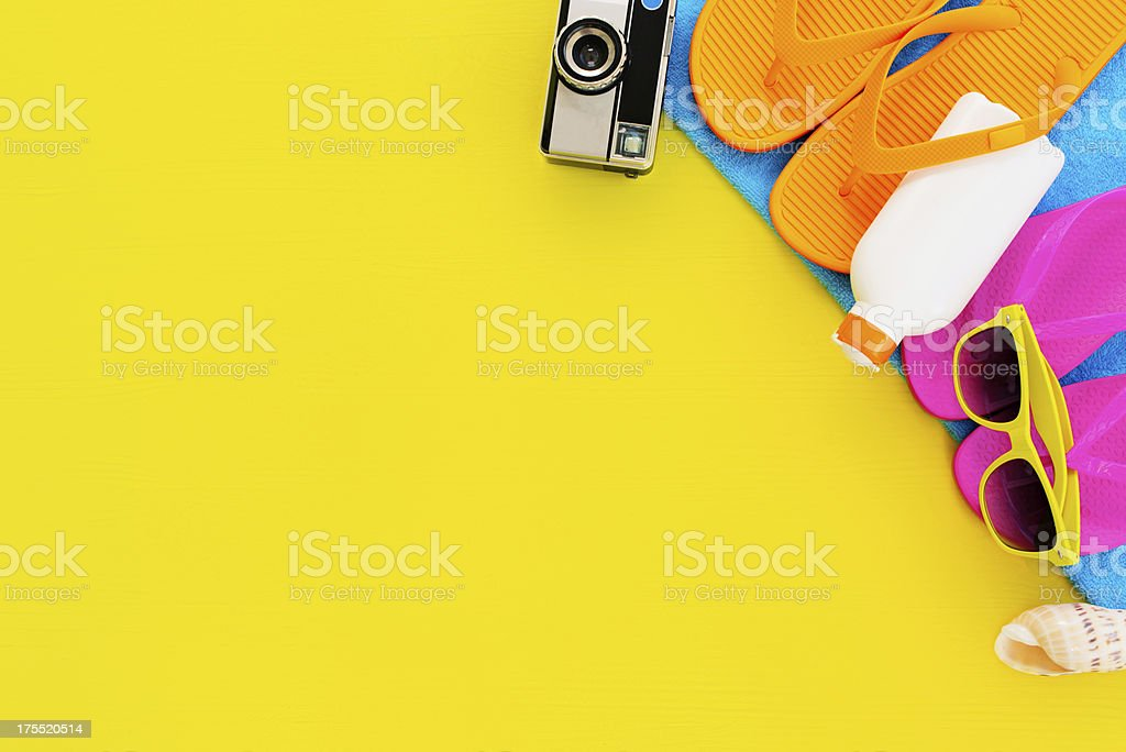 Summer items concept stock photo