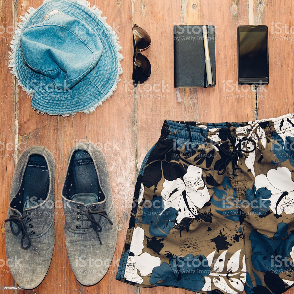Summer items flat lay stock photo