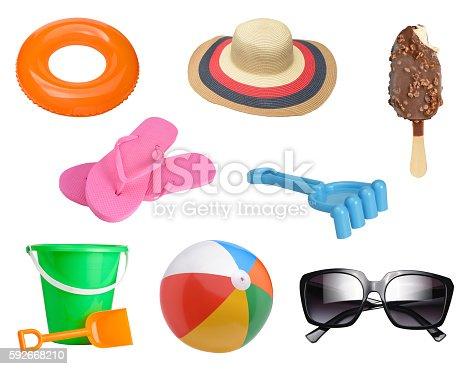 istock Summer items set 592668210