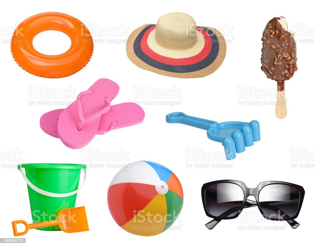 Summer items set stock photo