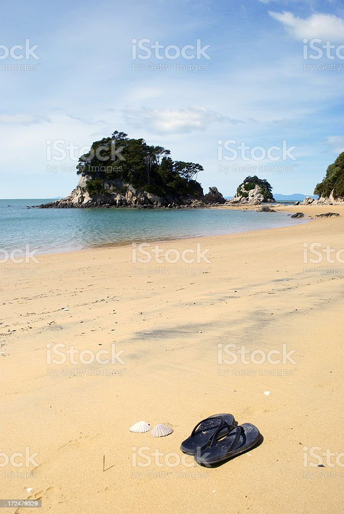 Summer, Jandals on the Beach royalty-free stock photo