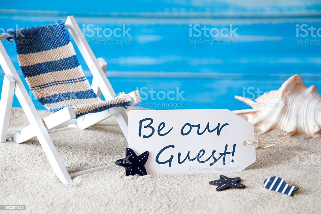 Summer Label With Deck Chair And Text Be Our Guest royaltyfri bildbanksbilder
