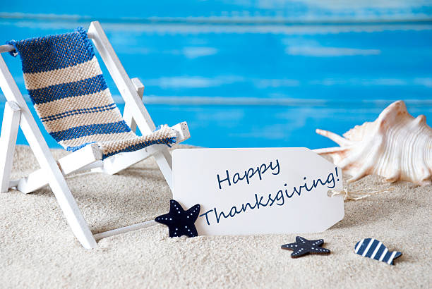 Summer Label With Deck Chair And Text Happy Thanksgiving – Foto