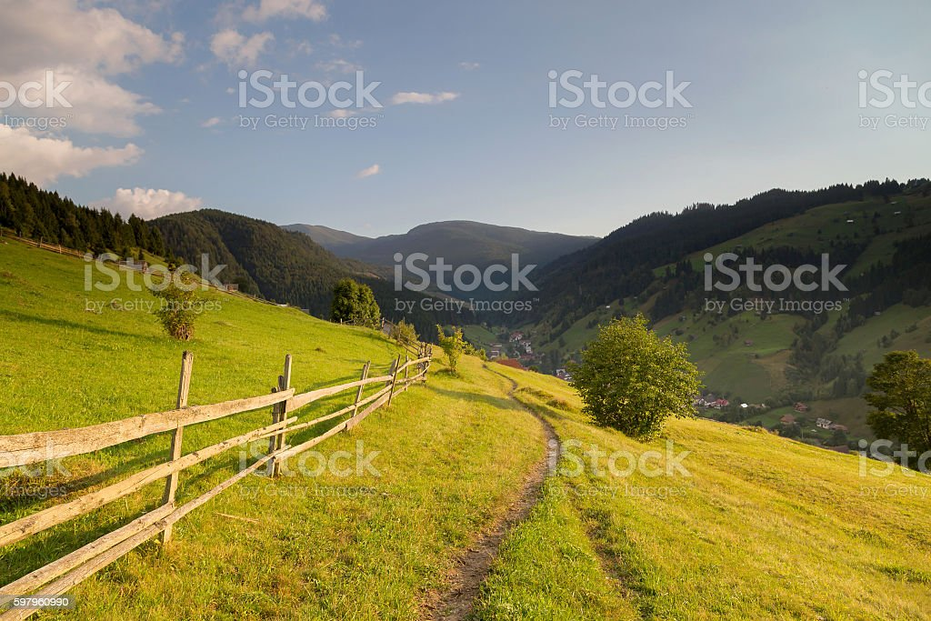 Summer landscape above the village stock photo