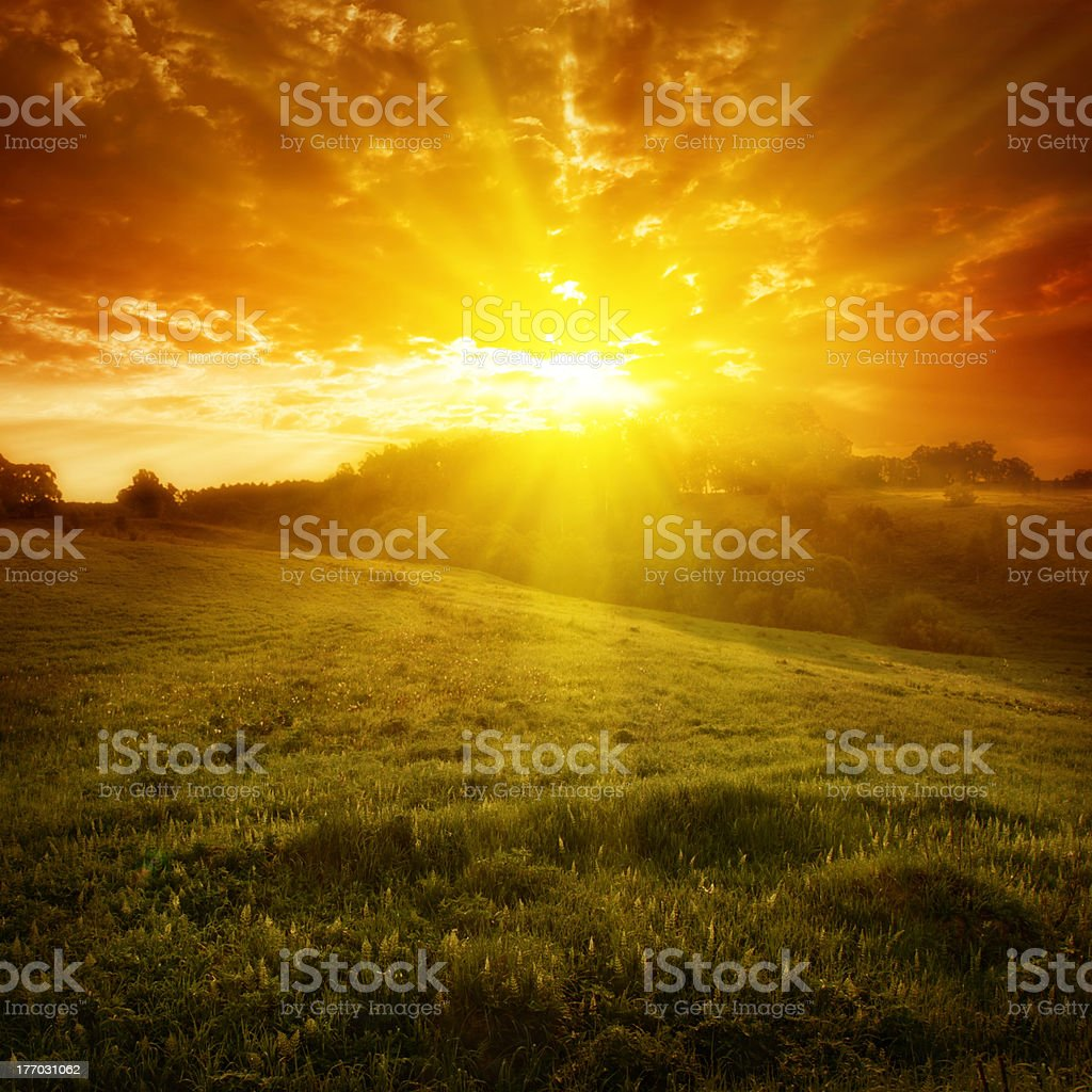 Summer landscape at twilight. royalty-free stock photo