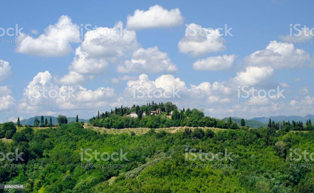 Summer landscape between Brisighella and Modigliana (Romagna, Italy) - foto stock