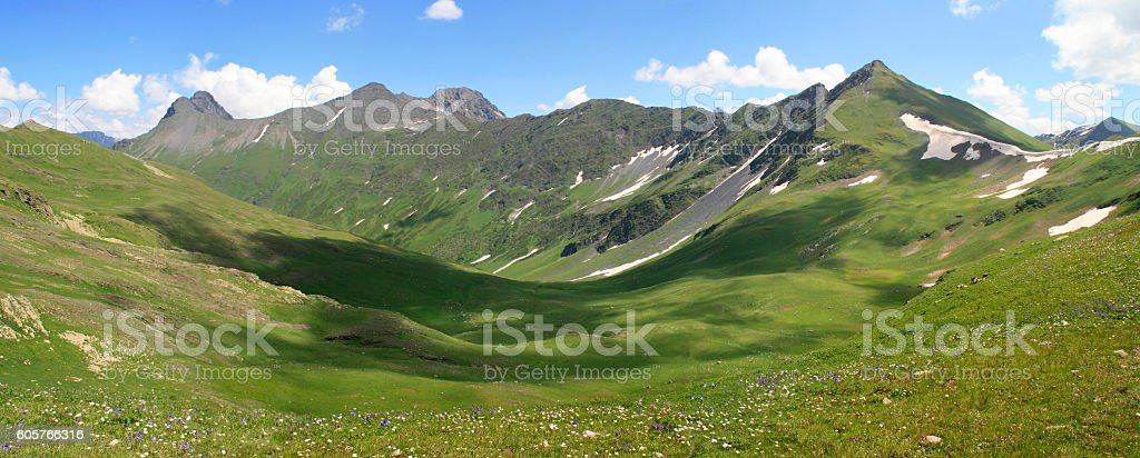 Summer landscape in mountains and the blue sky with clouds stock photo