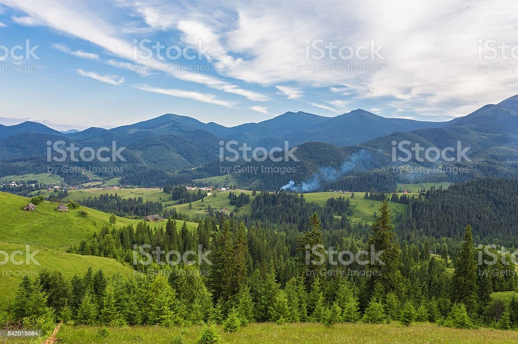 Summer landscape in mountains stock photo