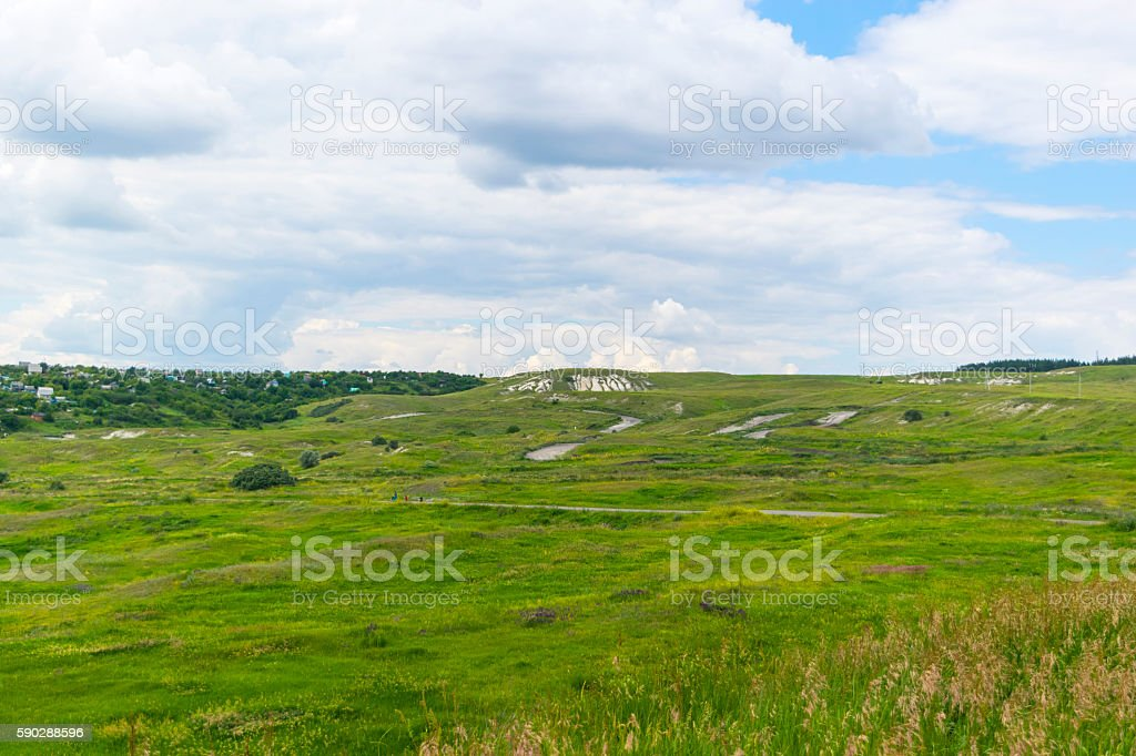 Summer landscape of green fields and cloudy sky. Rural scene. - foto stock