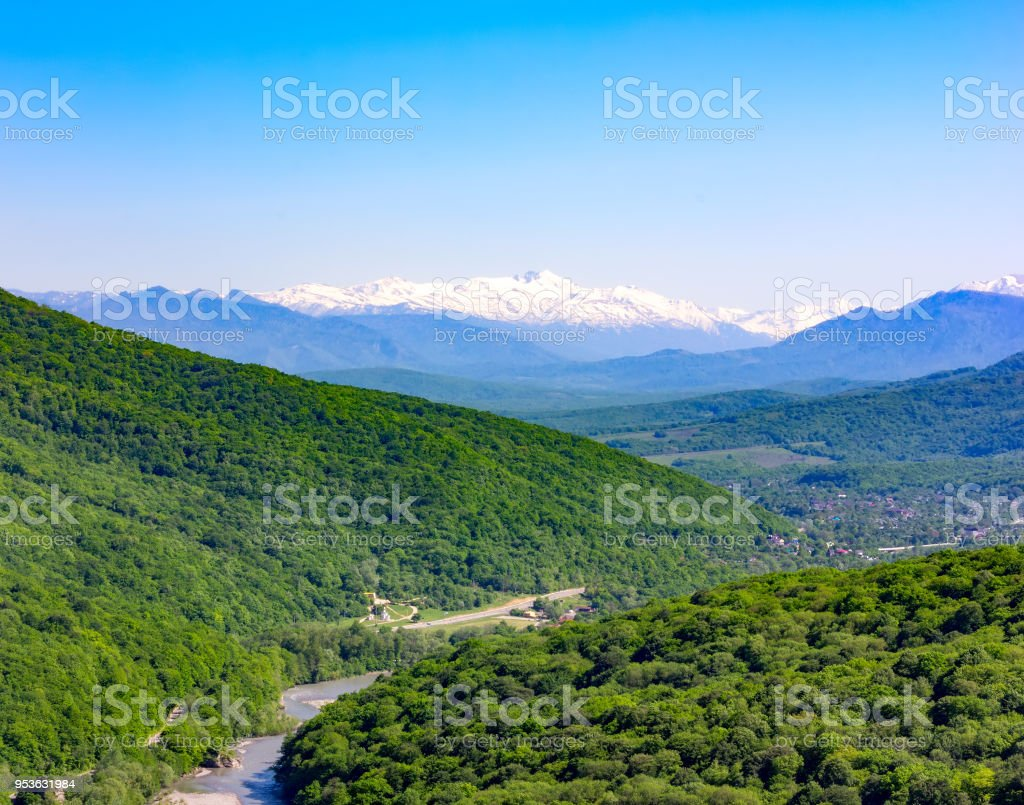 summer landscape of mountains and hills in the Caucasus stock photo