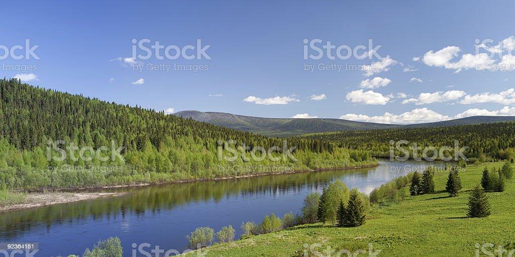 Summer landscape. River Vishera. Ural mountains. Panorama royalty-free stock photo