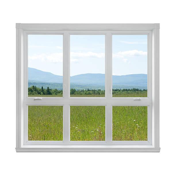 Summer landscape seen through the window stock photo