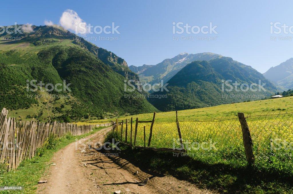 조지아의 산악 마에서도 여름 풍경 - 로열티 프리 0명 스톡 사진