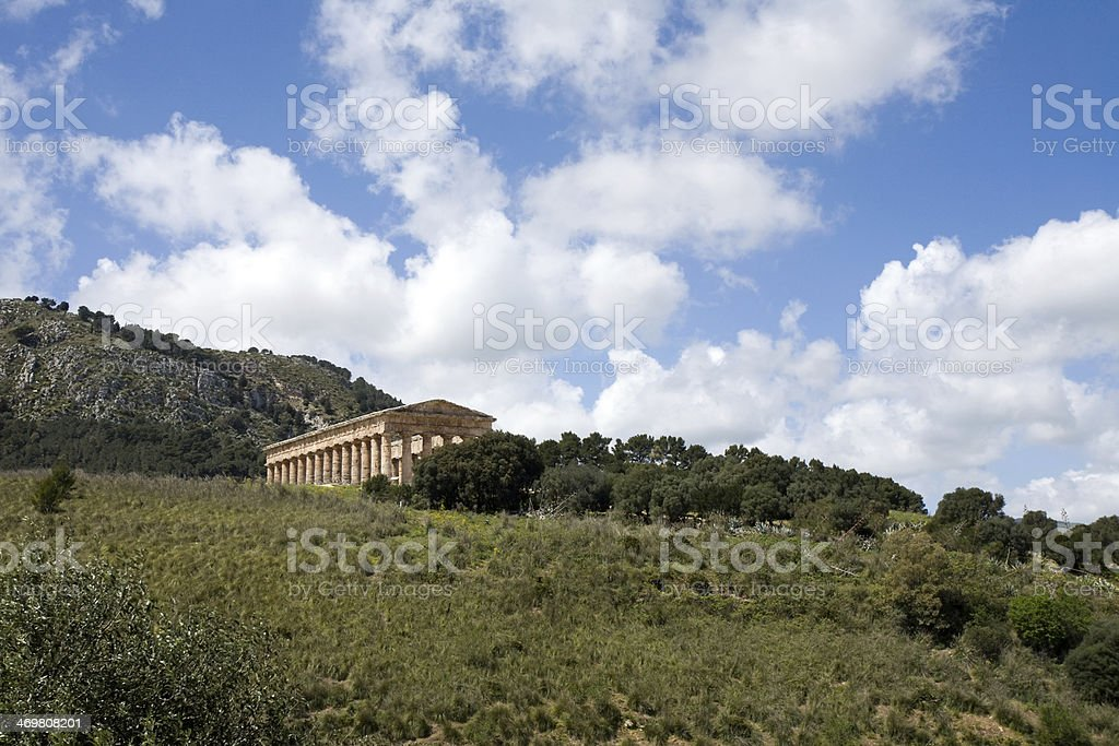summer landscape with ancient temple stock photo