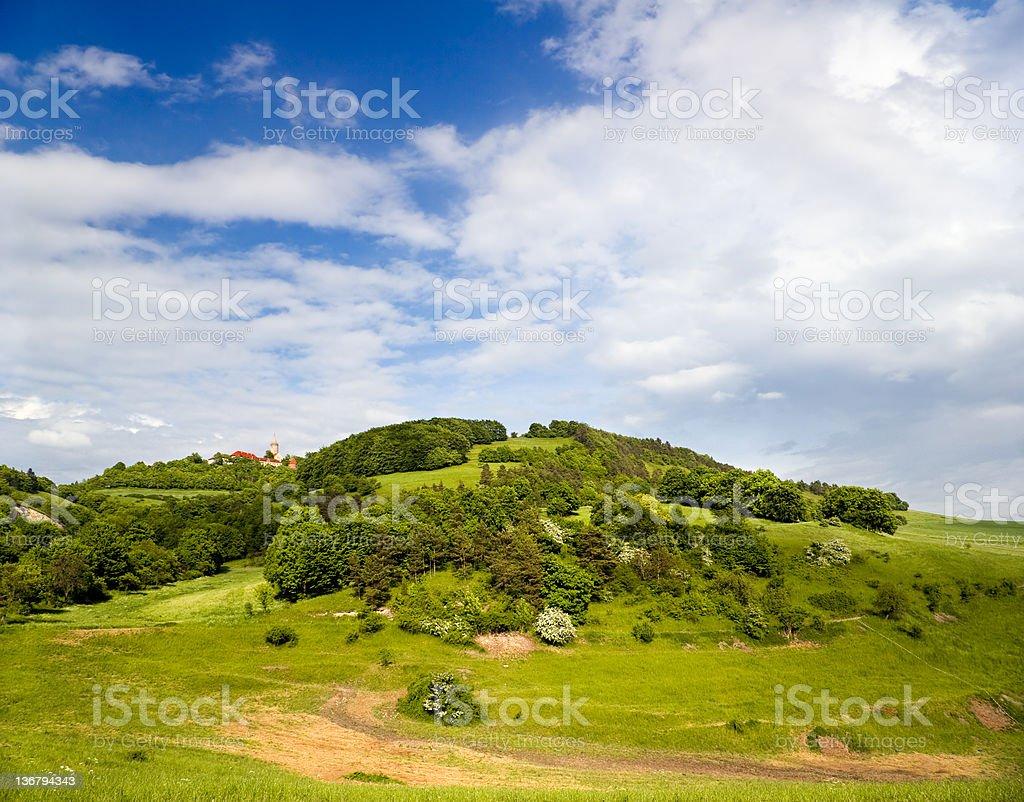 Summer Landscape with Castle Leuchtenburg stock photo