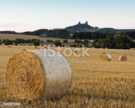 The summer landscape with straw bales in a field, Czech Republic