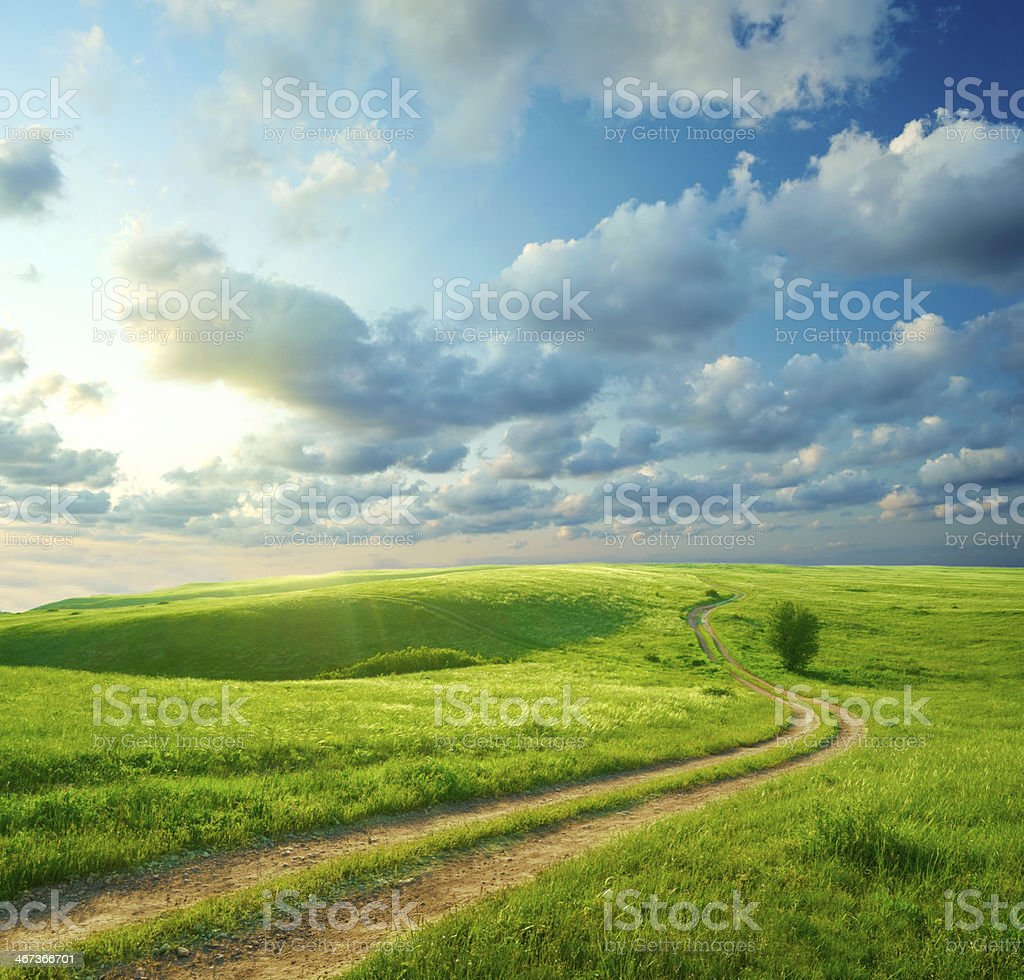 Paisaje de verano con hierba verde, la carretera y las nubes - foto de stock