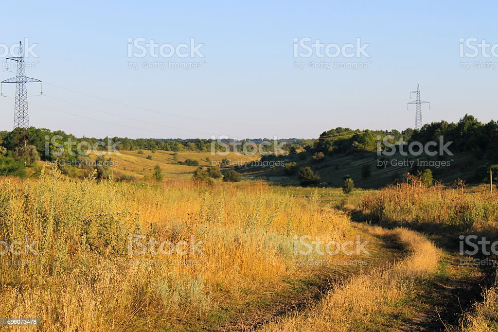 Summer landscape with meadow, trees and hills royalty-free stock photo